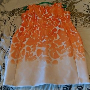 Orange pattern knee dress